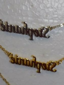 STEPHANIE Name Necklace with Rhinestone Gold or Silver Tone