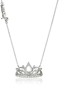 "Sterling Silver Diamond Tiara ""Princess"" Pendant Necklace ,"
