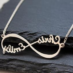 Sterling Silver Infinity Necklace, Personalized Name Infinit