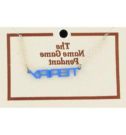 Terry Name Game Necklace Gold Tone Jewelry Blue Pendant Vint