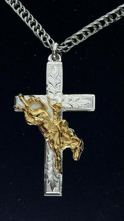 Montana Silversmiths Tooled Cross Necklace with a Bareback R
