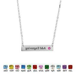 US Personalized Birthstone Name Bar Necklace Custom Name Nec
