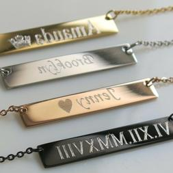 Personalized Initial Name Necklace Gold Bar Necklace Free En