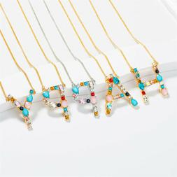 Women English Alphabet Necklace Long Chain Crystal Necklaces