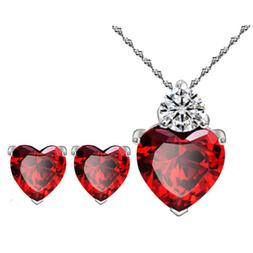 Women Gold Plated Red Heart Crystal Jewelry Sets Wedding Nec