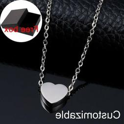 Women Men Stainless Steel DIY Personalized Name Heart Neckla