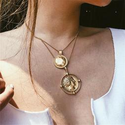 Women's Coin Necklace Figure Medal Pendant Choker Double-lay