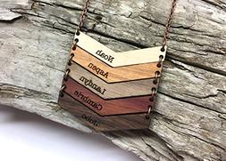 Wood Chevron Name Necklace - Customized Engraved Bars