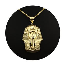 LoveBling 10K Yellow Gold Pharaoh Head Diamond Cut Charm Pen
